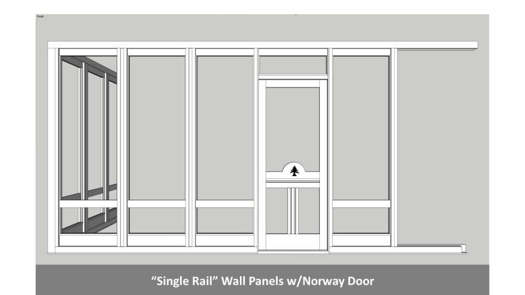 """Single Rail"" Wall Panels w/Norway Door"