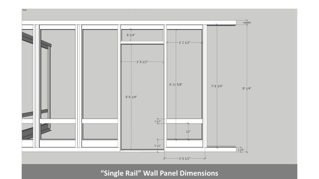 """Single Rail"" Wall Panel Dimensions"