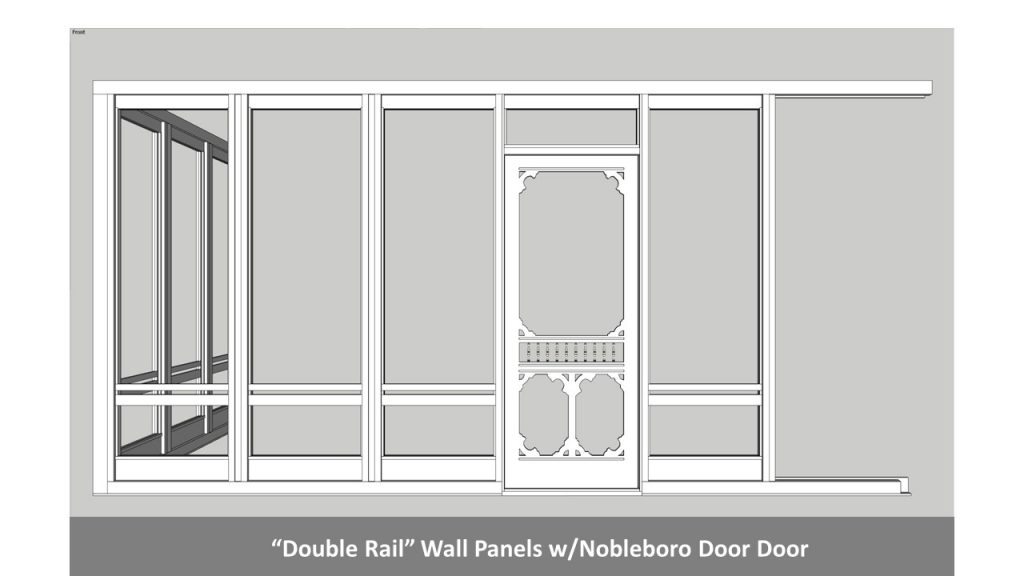 """Double Rail"" Wall Panels w/Nobleboro Door Door"