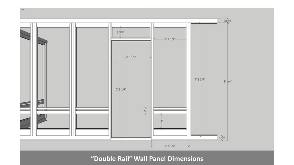 """Double Rail"" Wall Panel Dimensions"